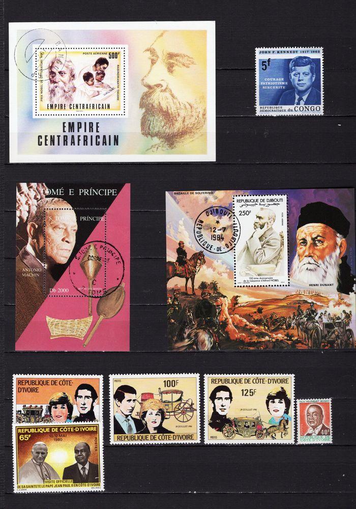 lot de 153 timbres du MONDE avec des PERSONNALITES 10 Les Églisottes-et-Chalaures (33)