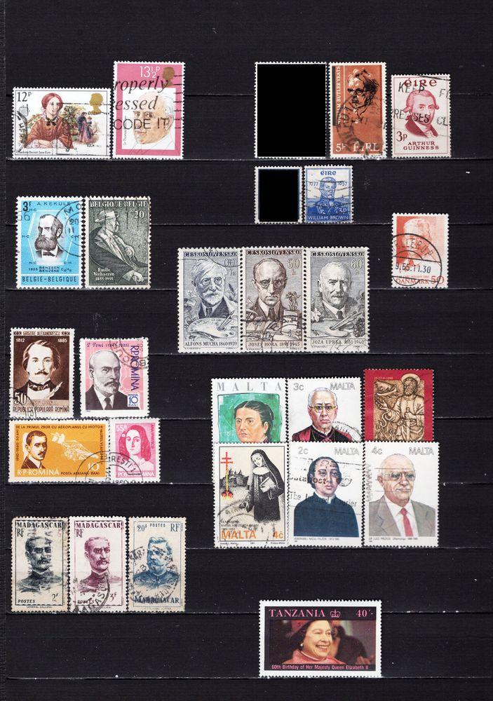lot de 74 timbres du MONDE avec des PERSONNALITES