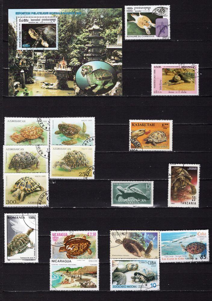 lot de 17 timbres du MONDE avec des TORTUES 2 Les Églisottes-et-Chalaures (33)