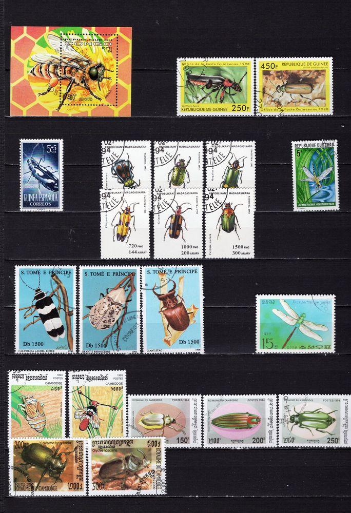 lot de 49 timbres du MONDE avec des INSECTES 3 Les Églisottes-et-Chalaures (33)