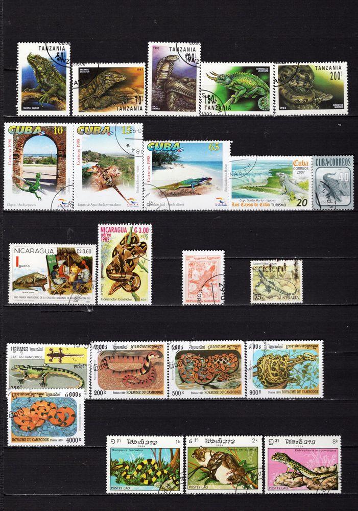 lot de 57 timbres du MONDE avec des REPTILES 3 Les Églisottes-et-Chalaures (33)
