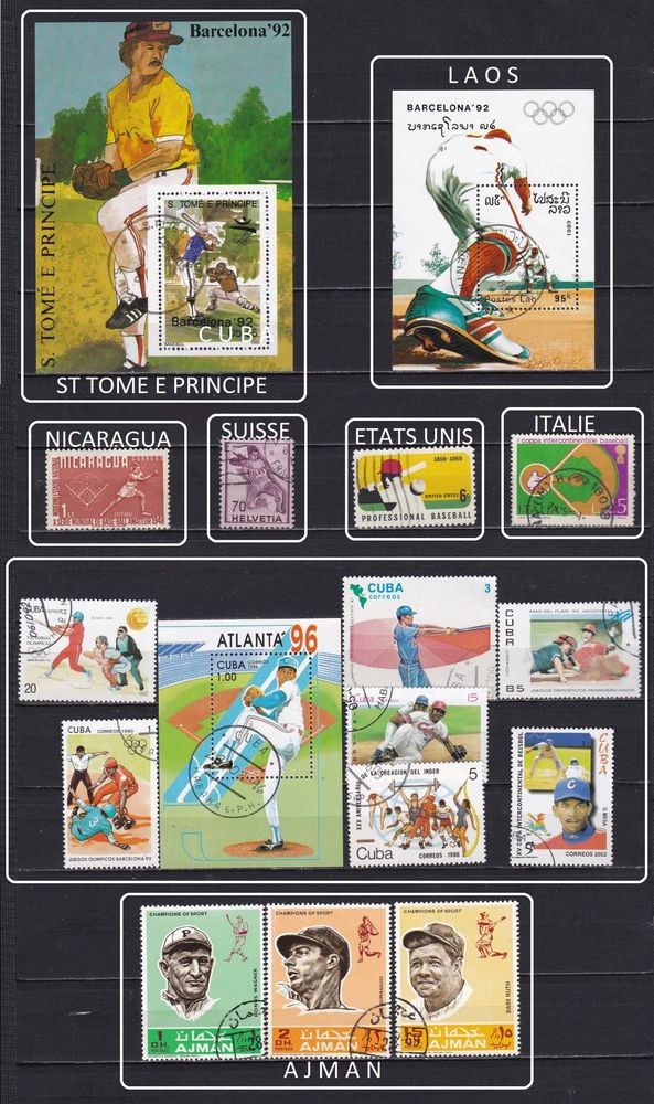 19 timbres du MONDE sur le BASE BALL