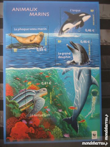 TIMBRES NEUF 2002  ANIMAUX MARINS 4 Mézos (40)