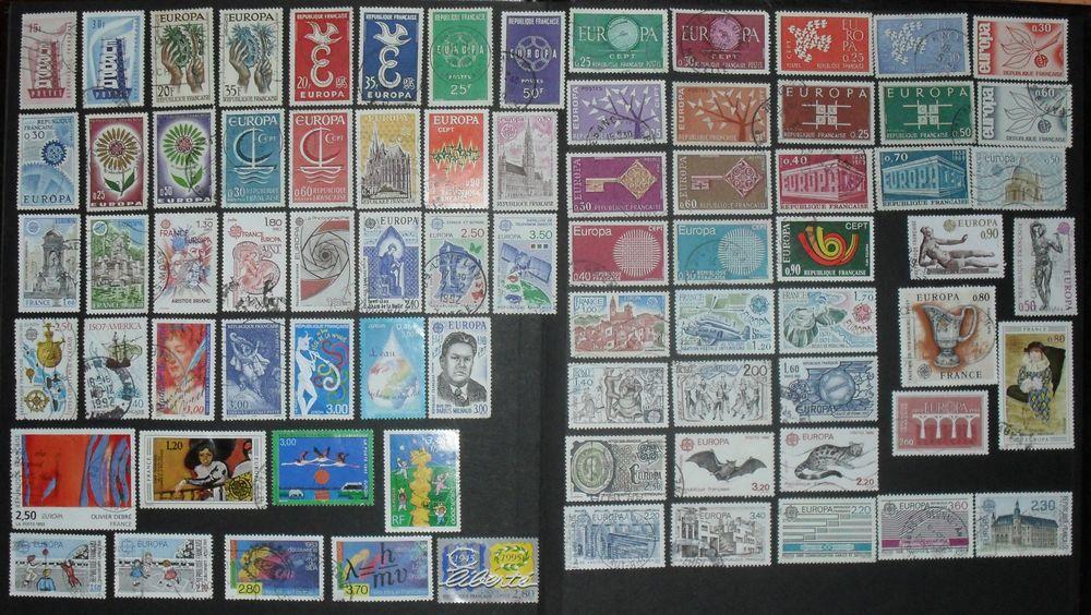 Lot de 77  timbres oblitérés EUROPA de France. 17 Montreuil (93)