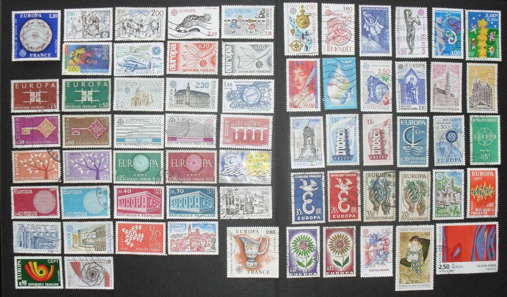 Lot de 65  timbres oblitérés EUROPA de France. 0 Montreuil (93)