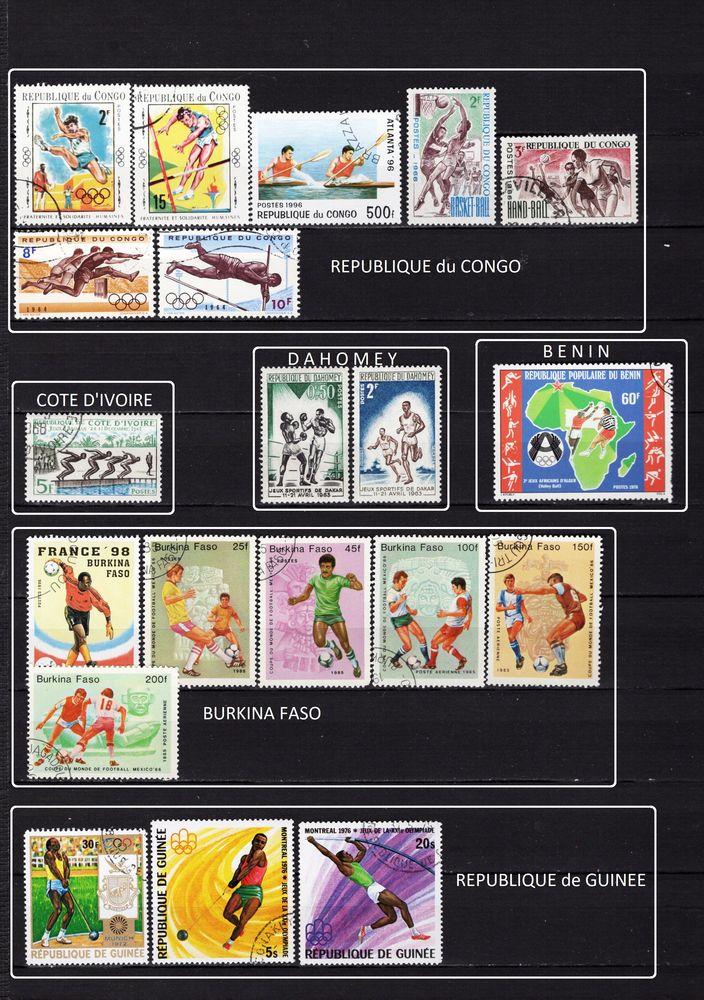 lot de 77 timbres de PAYS d'AFRIQUE sur les SPORTS 8 Les Églisottes-et-Chalaures (33)
