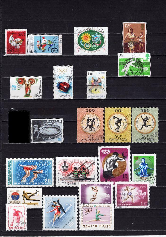 lot de 92 timbres de PAYS d'EUROPE sur les SPORTS 5 Les Églisottes-et-Chalaures (33)