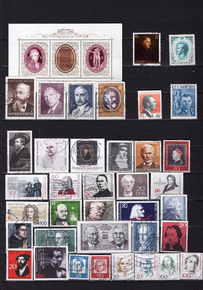 lot de 129 timbres de PAYS d'EUROPE avec des PERSONNALITES 6 Les Églisottes-et-Chalaures (33)