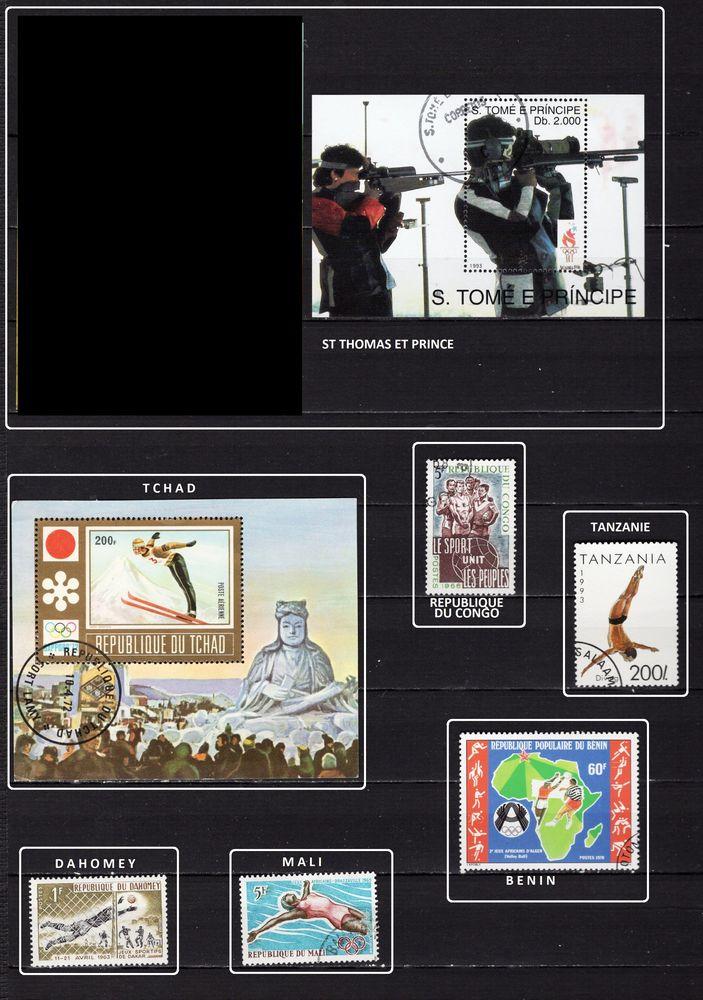 lot de 163 timbres de PAYS du MONDE sur les SPORTS 10 Les Églisottes-et-Chalaures (33)