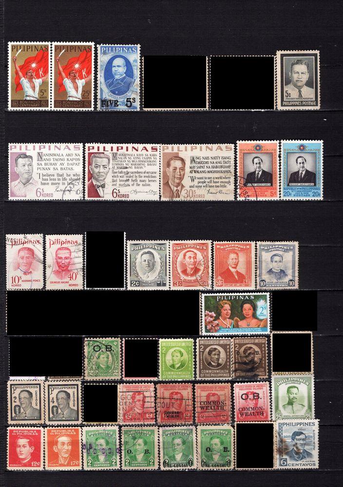 lot de 63 timbres des PHILIPPINES avec des PERSONNALITES