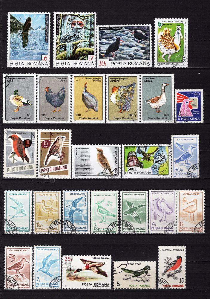 lot de 34 timbres de ROUMANIE avec des OISEAUX 2 Les Églisottes-et-Chalaures (33)