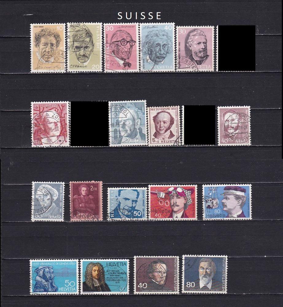 21 timbres de SUISSE sur les PERSONNALITES 1 Les Églisottes-et-Chalaures (33)