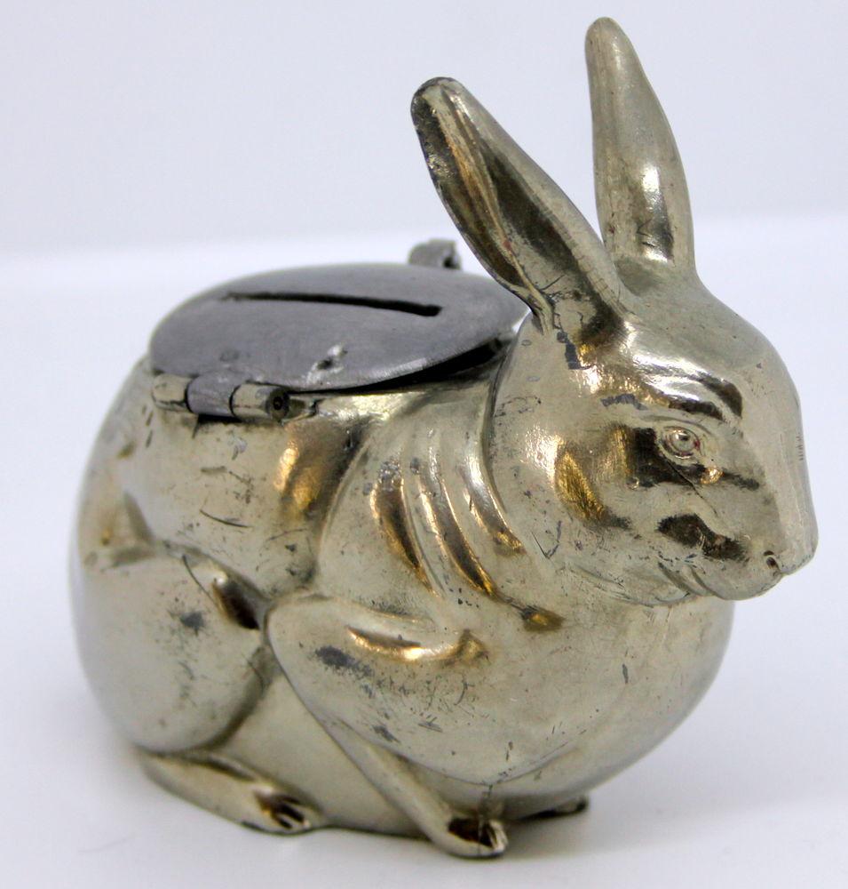 Tirelire ART DECO métal chromé lapin 50 Issy-les-Moulineaux (92)