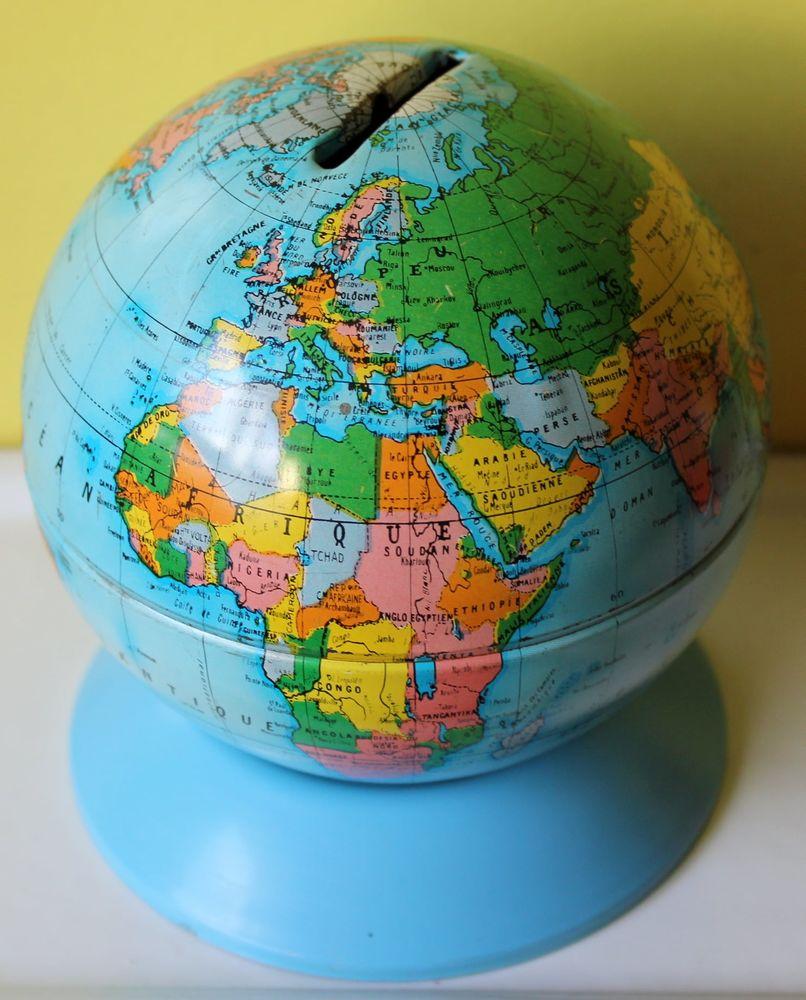 Tirelire en tôle globe mappemonde jouet Mont blanc 50 Issy-les-Moulineaux (92)