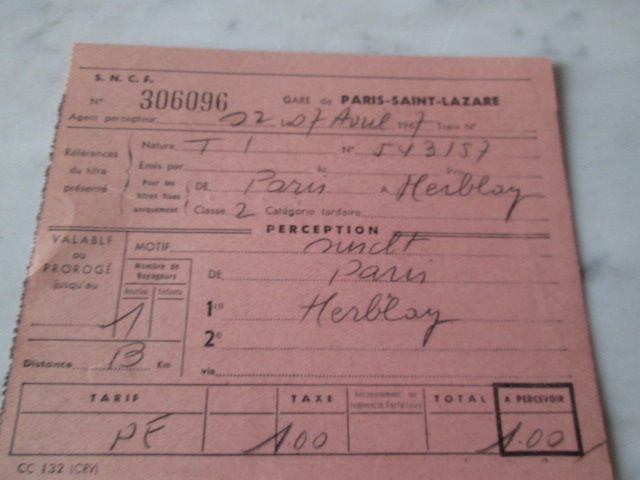 Titres transport anciens pour collection 3 Herblay (95)