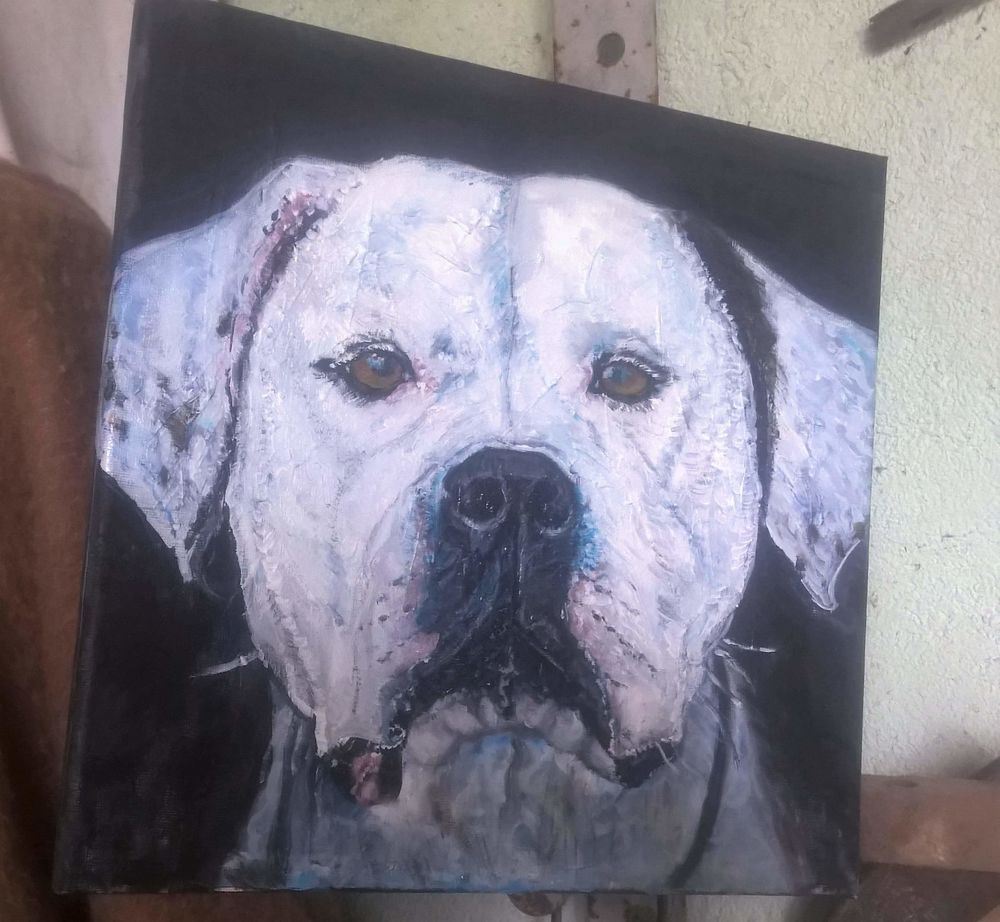 Toile à l huile portrait chien 0 Saint-Méry (77)