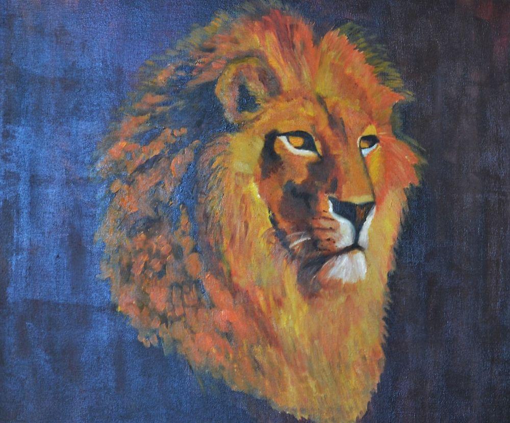 Toile à l huile portrait de lion 0 Saint-Méry (77)