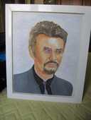 Toile peinture à l'huile Portrait de Johnny Hallyday 80 Lattes (34)