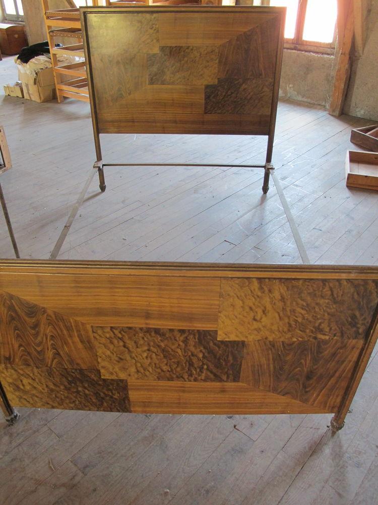 Lit en fer et tôle aspect bois 140x190 - Vintage 70 Parent (63)