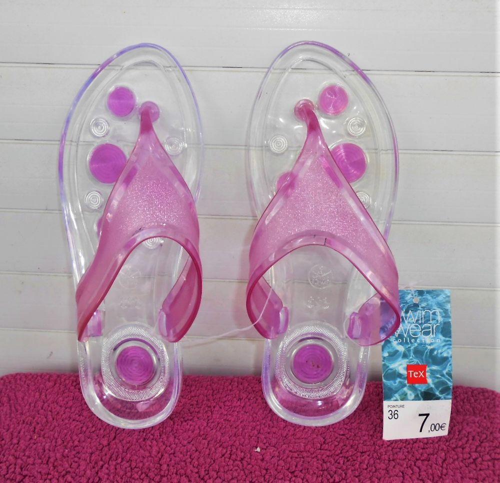 tongs transparentes et mauves - NEUVES Chaussures