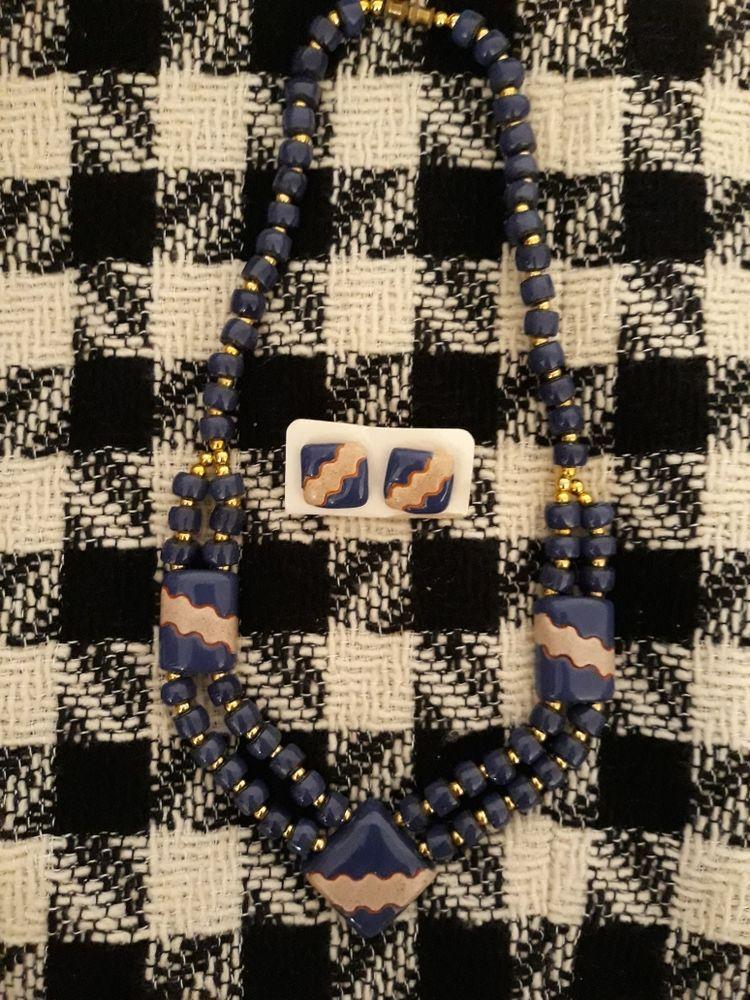 Tour de cou en céramique et ses puces d'oreille 34 Noyers (89)