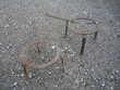 Trépieds fer forgé/cheminée diamètre 24cm h 15cm/19cm longue