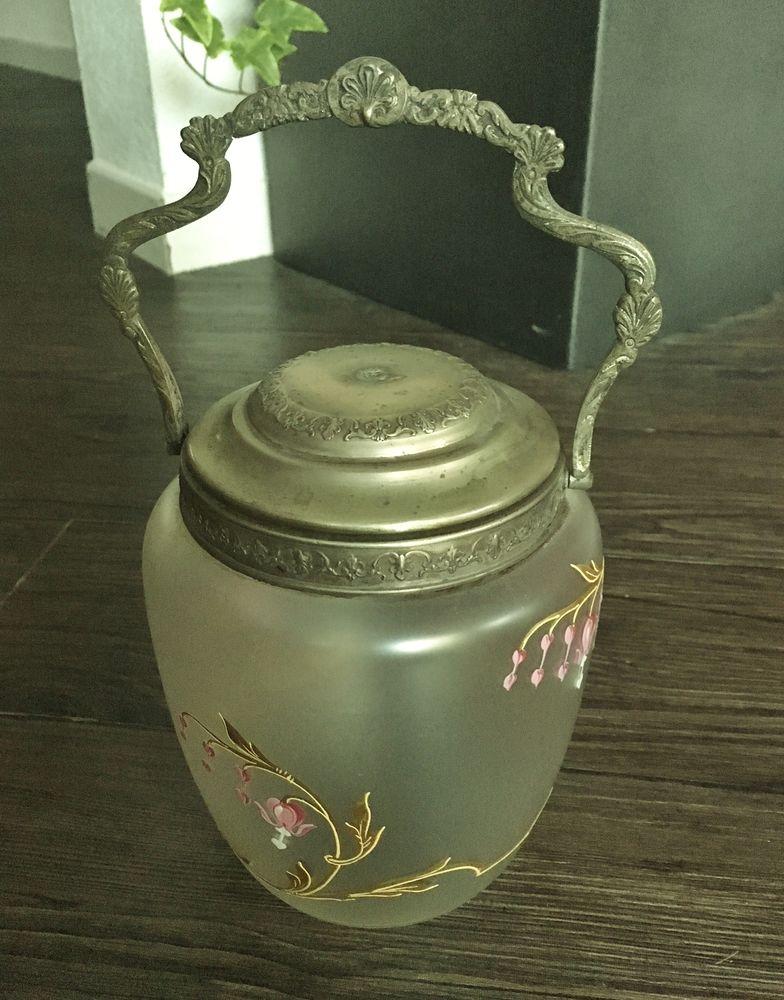 Très ancien Seau pot à biscuits verre et métal.Très bon état 130 Gujan-Mestras (33)