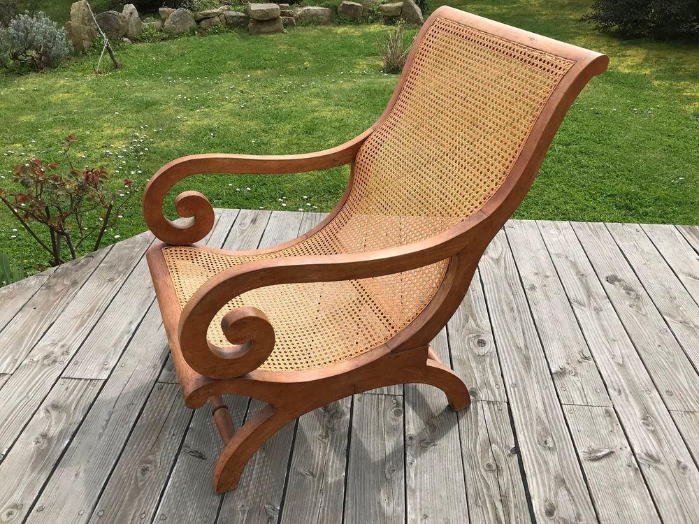 Très beau fauteuil teck et cannage style tropical 0 Port-Louis (56)
