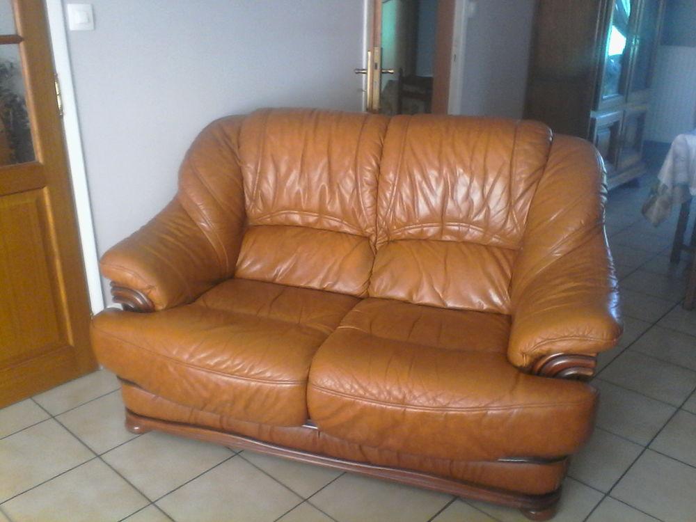 très beau fauteuils cuir et bois  350 Hoymille (59)