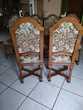 6 très belles chaises ossature chêne - tissu imprimé clouté Meubles