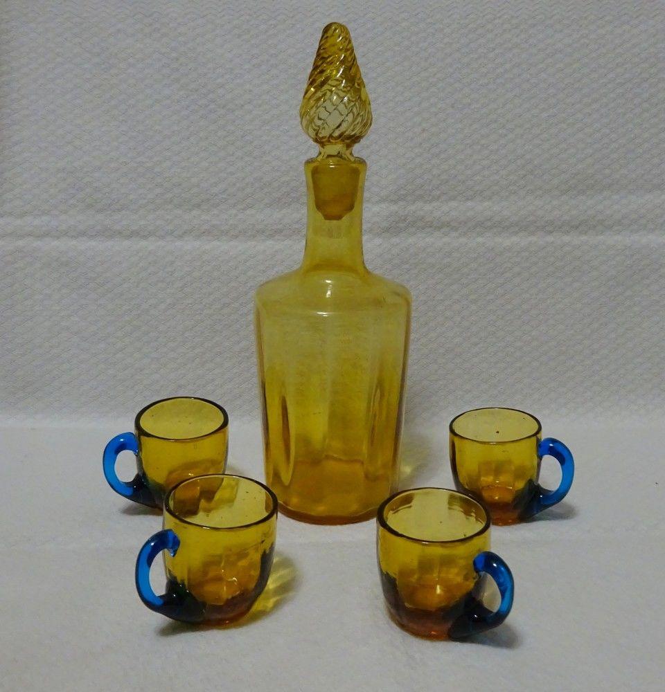 Très joli service à liqueur XIXe en verre de couleur marron Décoration