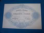 TRES RARE REPRODUCTION BILLET 50 F INDICES NOIRS TYPE 1868  12 Châtenoy-le-Royal (71)