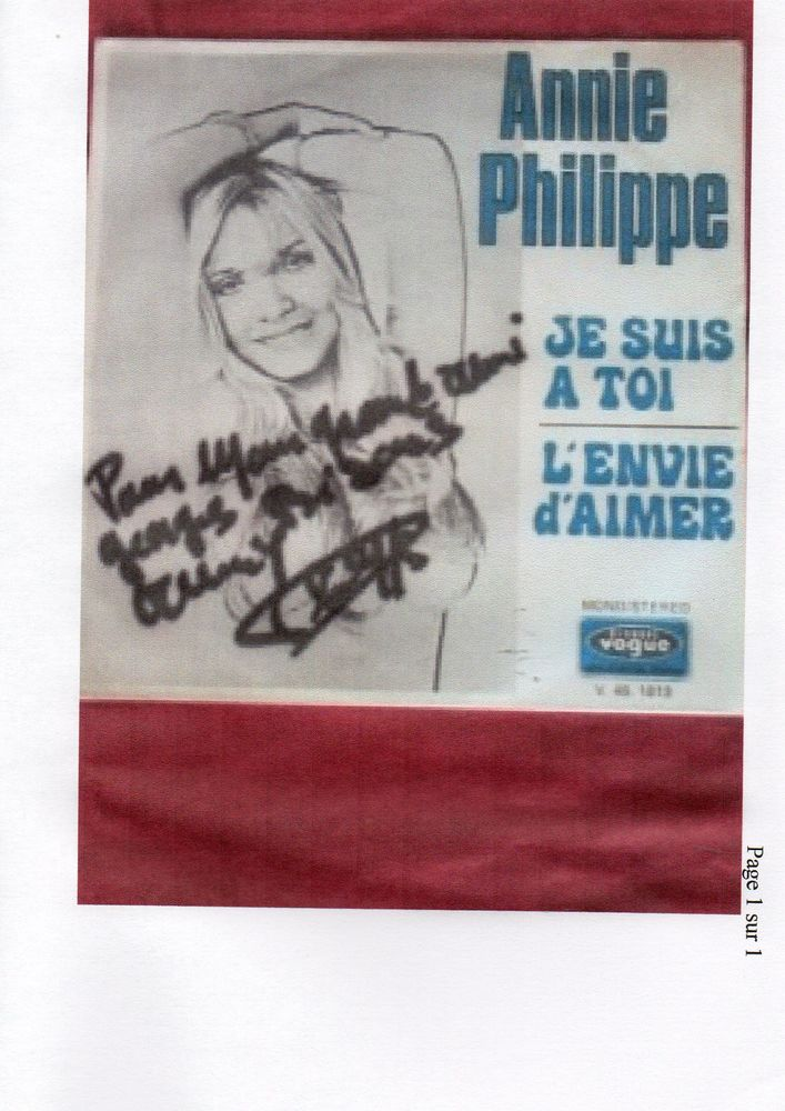 TRES RARE VINYLE ANNIE PHILIPPE (dédicacé) 40 Nice (06)