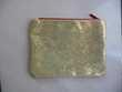 Trousse en tissu paillettes dorées glissière Rouge NEUVE Maroquinerie