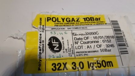 Tube Polyétyléne Bande jaune pour gaz 40 Hombourg (68)