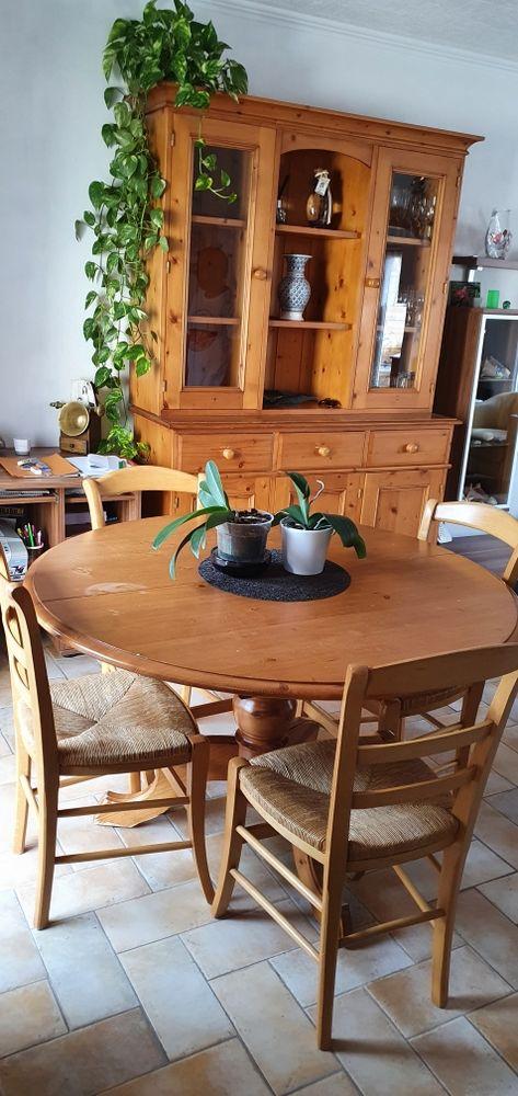 VAISSELIER TABLE DEUX RALLONGES 6 CHAISES EN PIN MASSIF 400 Orange (84)