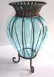 Vase BLEU verre soufflé style vénitien murano Décoration