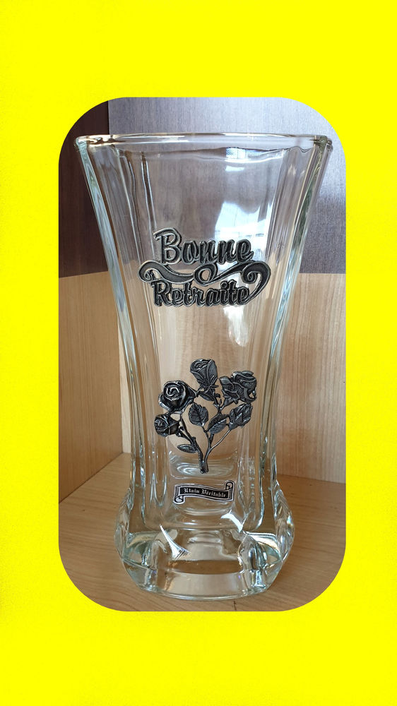 Vase en étain véritable BONNE RETRAITE fleurs rose NEUF Décoration