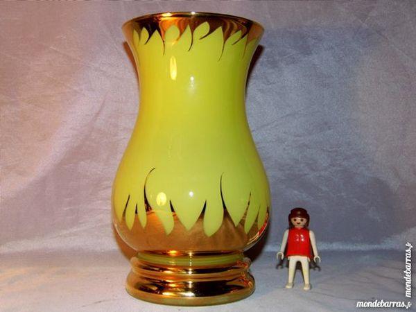 Vase opaline jaune et or  vintage année 50 60 50 Dunkerque (59)