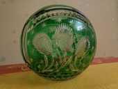 Vase rond en Cristal Bohème vert ciselé 39 Orsay (91)