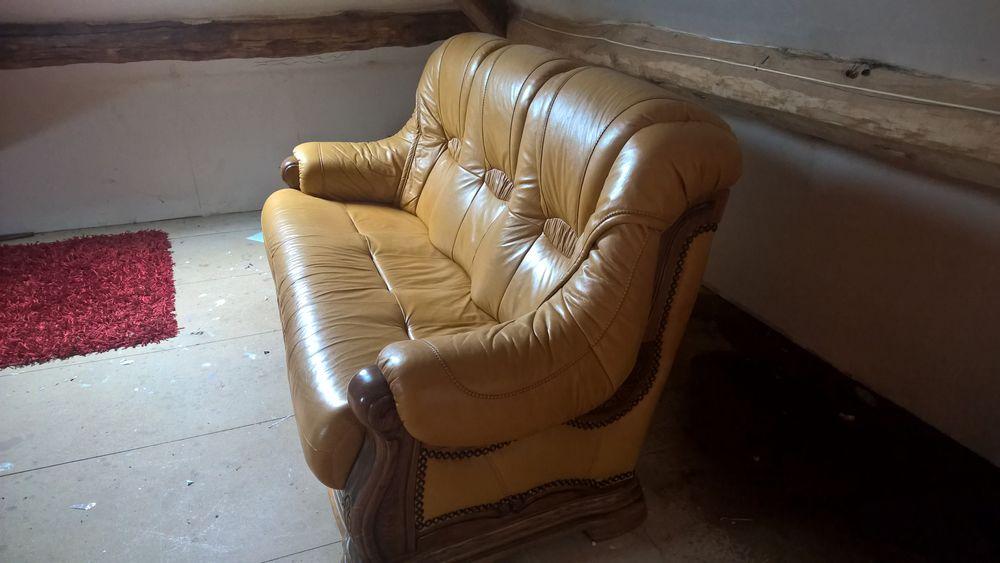 Je vends un canapé en cuir trois places avec deux fauteuils 500 Ichy (77)