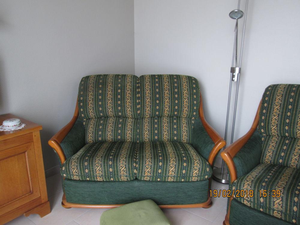 vends canapés 2 et 3 places tissu vert 150 Saint-Julien-les-Villas (10)