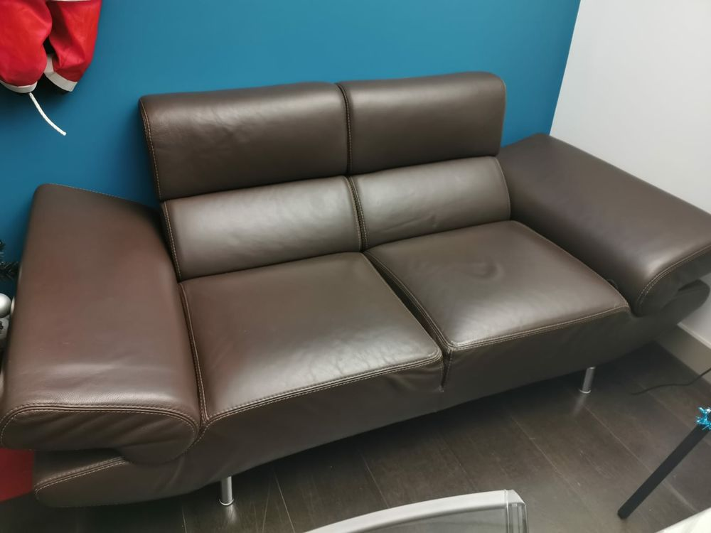 véritable canapé en cuir marron design 250 Saint-Maurice (94)