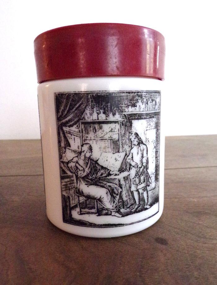 Pot en verre blanc épais impression gravure couvercle  6 Laval (53)