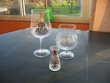Verre Kir Royal + grand digestif + petit vase déco étain