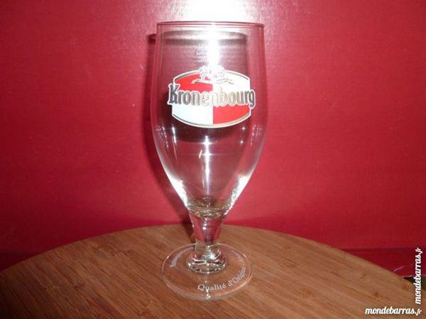 T33: 6 verres à bière KRONENBOURG/pied gravé 25 cl 8 Vauréal (95)