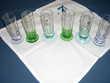 6 verres à liqueur bases colorées