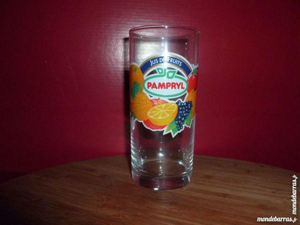 T33: 6 verres PAMPRYL droits, différents fruits 7 Vauréal (95)