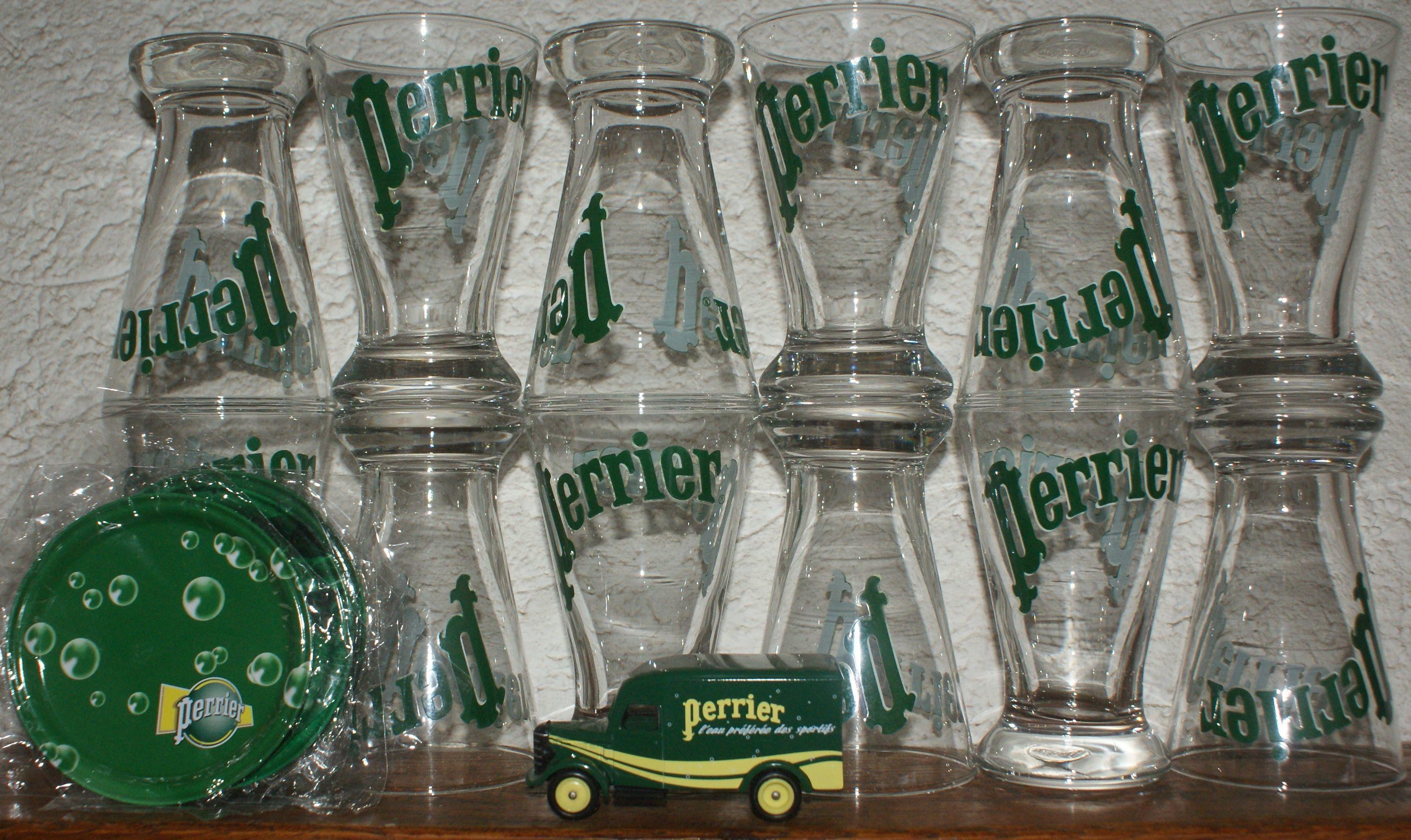 12 verres perrier + sous verres+ auto 35 Montcy-Notre-Dame (08)