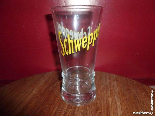 T33: 6 verres à SCHWEPPES évasés, jaune et noir 8 Vauréal (95)